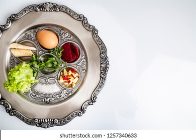Jewish Passover. Seder plate on a white background
