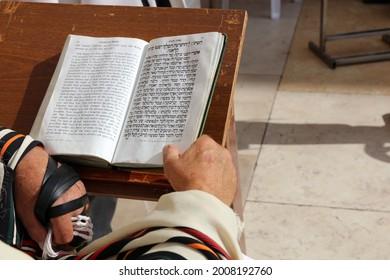 Jüdisches Gebet an der Wagelmauer in Jerusalem. Israel