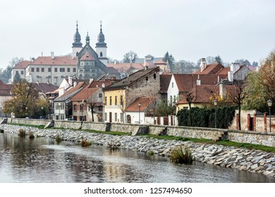 Jewish quarter, chateau and Jihlava river, Trebic, Czech republic. Travel destination. Architectural theme.