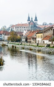 Jewish quarter, chateau and Jihlava river, Trebic, Czech republic. Travel destination. Architectural theme. Vertical composition.