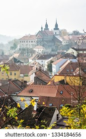 Jewish quarter and chateau in Trebic, Czech republic. Travel destination. Architectural theme.