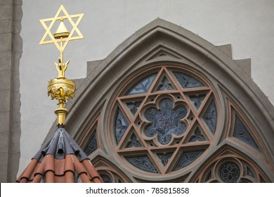 The Jewish Star on the exterior of the Maisel Synagogue, located in the Jewish Quarter of Prague in Czech Republic.