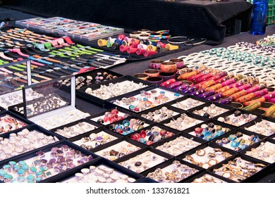 A Jewllery store in the street with a big collections of  accessories