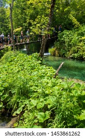 Plitvička Jezera, Croatia - June 25th 2019: Lots of people queuing on the boardwalk to cross a small bridge, even the Plitvice Lakes National Park in Croatia has introduced crowd control recently