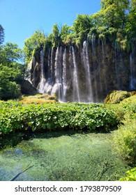Plitvička Jezera , Crotia - July, 3rd 2020 Beautful Nationalpark Plitvicer Seen with waterfalls and lakes in Croatia