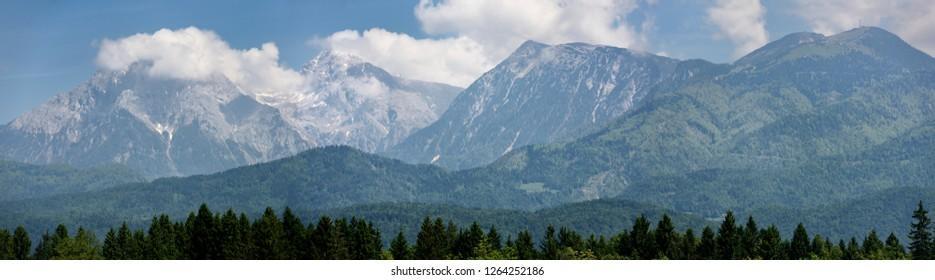 Jezersko Combe and Grintovec peaks with Kalce Ridge and Park Krvavec of the Kamnik Savinja Alps Karawanks range of Slovenia near Ljubljana airport