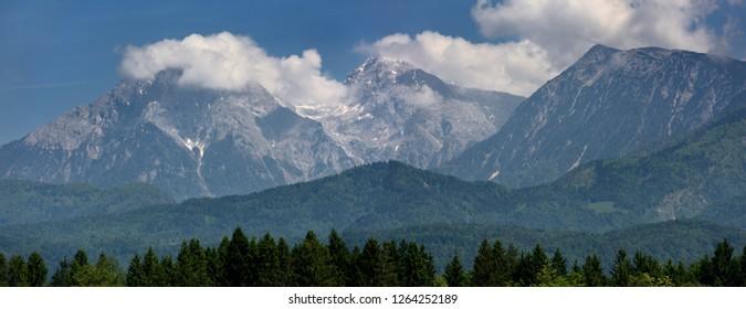 Jezersko Combe and Grintovec peaks with Kalce Ridge of the Kamnik Savinja Alps Karawanks range of Slovenia near Ljubljana airport