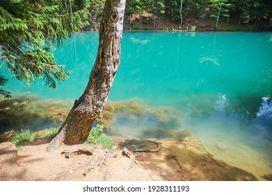 Jeziora Janowickie, Poland - 07 02 2016: Landscape of colorful lakes on a sunny summer day