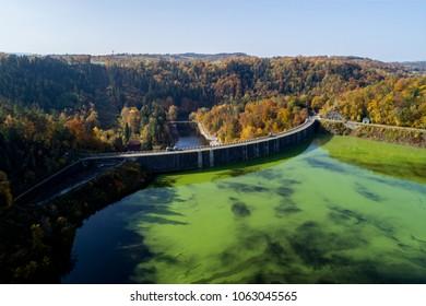 Jezioro Pilchowickie, zapora, rzeka Bobr, widok z powietrza - Shutterstock ID 1063045565