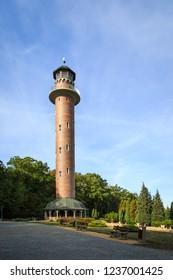 JEZIORY WYSOKIE, POLAND - October 8th 2018: Tall fire watch tower in Jeziory Wysokie, Poland