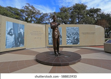 JFK MEMORIAL TRIBUTE, FORT WORTH TEXAS FEB 2017: On 11-22-1963 President John F. Kennedy gave an impromptu speech to thousands of spectators on the front steps of the historic Hotel Texas.