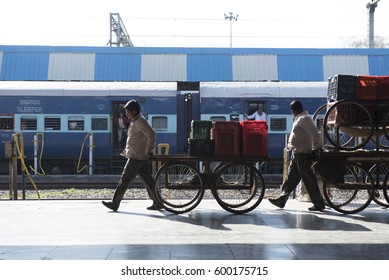Jhansi / India 26  February 2017 Railway hawkers  with cart on platform at Jhansi Railway station uttar pradesh  India