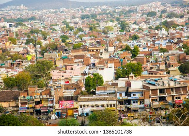 JHANSI, INDIA 28 FEBRUARY 2018 : Cityscape of Jhansi city view from Jhansi fort , An aerial view of the city on a bright sunny day.