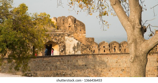 JHANSI, INDIA 28 FEBRUARY 2018 : Unidentified Tourist visit to Jhansi Fort, Jhansi fort construction in 1613 by the king of Orchha Veer Singh ju Deo Bundela.
