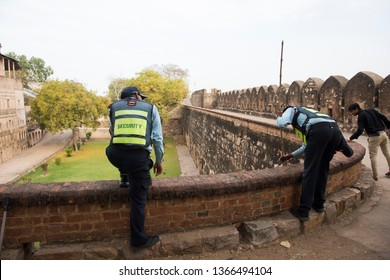 JHANSI, INDIA 28 FEBRUARY 2018 : Unidentified security guard at Jhansi Fort, Jhansi fort construction in 1613 by the king of Orchha Veer Singh ju Deo Bundela.