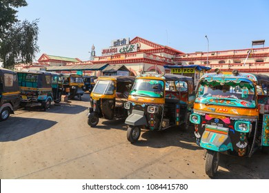 Jhansi, India_14 April  2017: Railway station, three-wheeled motorcycle taxi