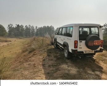 Jhargram, India - January 01,2020:Photograph from the back side of Tata Sumo 4X4 TC,A truly Indian SUV designed by Tata Motors.