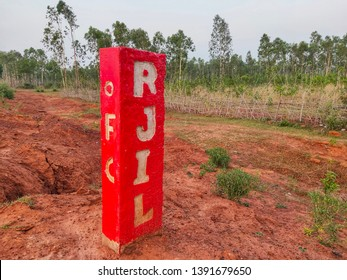 Jhargram, West Bengal, India - May 06,2019: this is the mark of the fiber optic network of Reliance Jio.