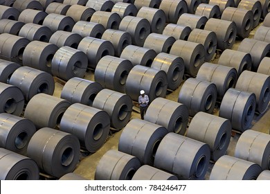 Jharkhand,India,May,11,2011: Top view of produced steel coils arranged in rows for inspection in steel plant ,Jharkhand,India,Asia