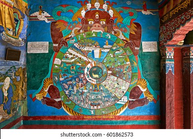 JHARKOT/NEPAL - NOVEMBER 20, 2016: Wheel of Life (or wheel of cyclic existence) painted on the wall of a Tibetan Buddhist monastery in Jharkot, Nepal