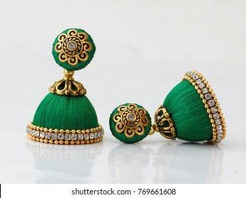 Jhumka Earrings Indian Fashion Silk Thread Jewelry Indian Jewellery