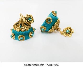 Jhumka Earrings Indian Fashion Silk Thread Jewelry thread jewellery indian jhumka