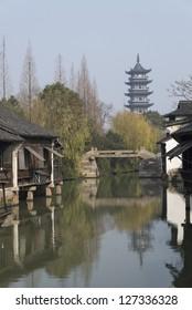 Jiangnan water village scenery, Wuzhen of Zhejiang Province, China