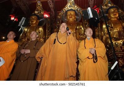 JIANGXI CHANA-May 25, 2011: Taiwan, the Venerable Master, President of the Federation of international fokuangshan world Hsing Yun visits the Donglin Temple. Buddhist Pure Land Buddhism.