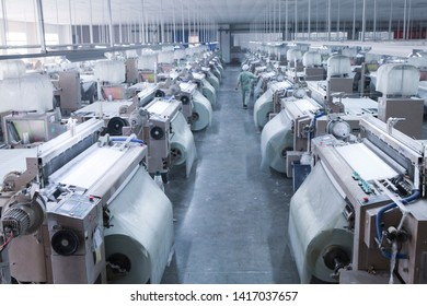 Jiangxi, China - February 23, 2019: The official manufacturing PMI for a textile factory in eastern China came in at 49.4 per cent in May, below the line for expansion and contraction.