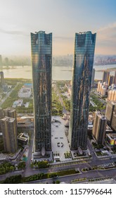 JIANGXI CHINA-Aug17, 2018: The twin towers in Nanchang, one of China's tallest buildings, have successfully surpassed the world's tallest building, the Dubai Tower, and set a new Guinness world record