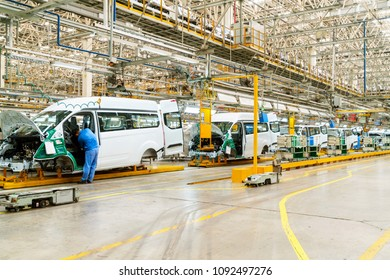 JIANGXI CHINA-August 31, 2017, The bodies of cars on the assembly line go on the conveyor at the car factory. Modern production.