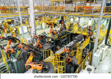 JIANGXI CHINA-August 31,2017,Modern car production line. The robot is working.