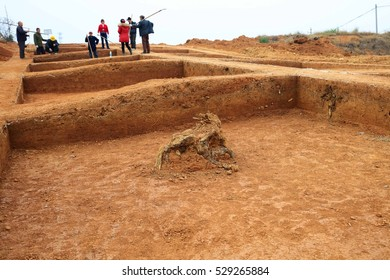 JIANGXI CHINA-December 3, 2016:the Jiangxi provincial cultural relics department found in Shang and Zhou Dynasty cultural relics, dating back more than 3000 years, archaeologists are digging.