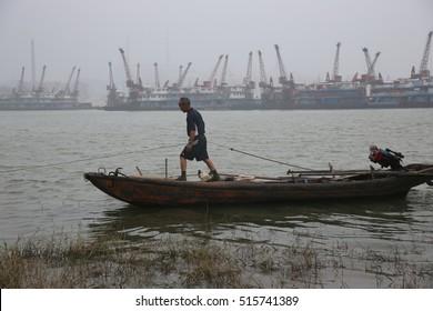 Jiangxi China-June 20, 2013: China's largest freshwater lake Poyang Lake wetlands, the local fishermen's daily life.