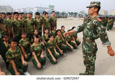 JIANGXI CHINA-September 3, 2011, Jiujiang University freshmen in the military training. Chinese colleges and universities in the new university students will be the beginning of the military training.