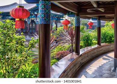 Jianshui, China - April 22, 2019: View of Zhu Family Garden, located in the ancient town of Jianshui. This garden has become famous for being the most elaborate gardens in the south of Yunnan Province