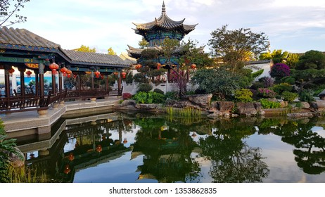 Jianshui, Yunnan, China - November, 2018. Zhu's Family Garden in the typical Chinese noble residence of the Zhu's Family
