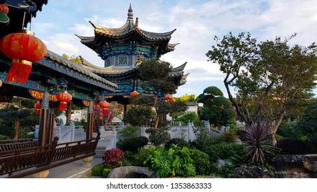 Jianshui, Yunnan, China - November, 2018. Traditional Chinese architecture. Zhu's Family Garden in the typical Chinese noble residence of the Zhu's Family