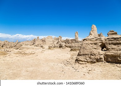 Jiaohe Ruins, Turpan, China. Ancient capital of the Jushi kingdom, it was a natural fortress atop a steep cliff leaf-shaped plateau between two river valleys and is more than 2000 years old