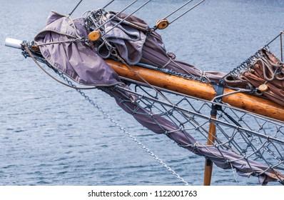 Jibboom of a traditional sailing vessel