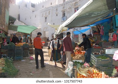 Jiblah, Yemen - January, 02, 2011: life in the morning market of the town