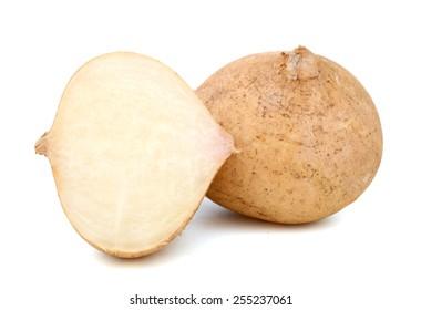 jicama and half cut isolated on white