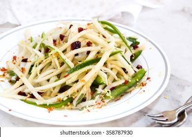 Jicama salad close up selective focus