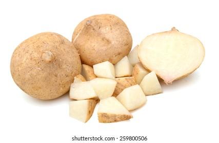 jicama vegetables on white background