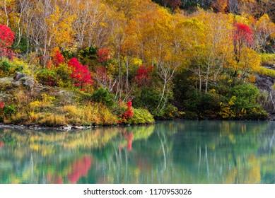Jigoku-numa Pond in autumn season , Hakkoda Aomori Tohoku Japan