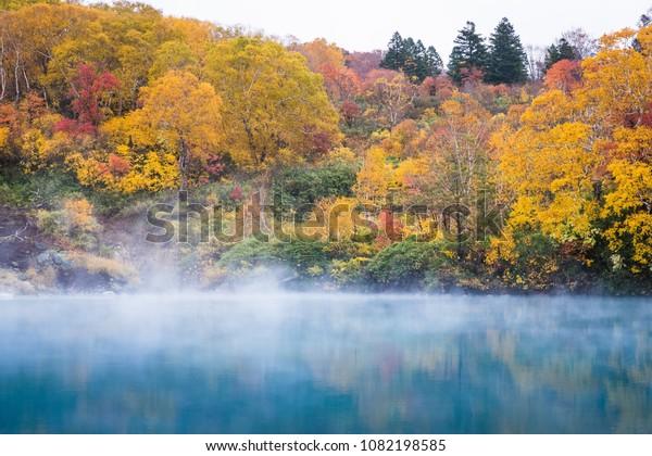Jigokunuma Pond crater lake at Aomori in Autumn season