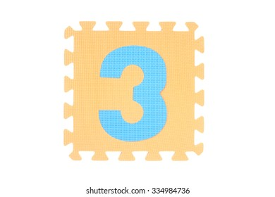 Jigsaw box with number on white background