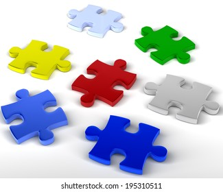 Jigsaw Pieces Multicolored jigsaw pieces unlinked