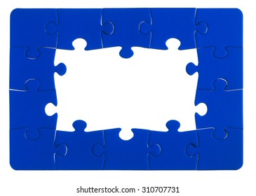 Jigsaw pieces on a white background