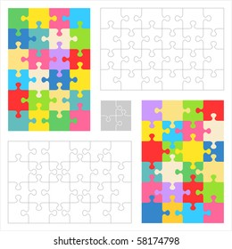 Jigsaw puzzle blank templates and colorful patterns ( for vector EPS see image 58174801 )